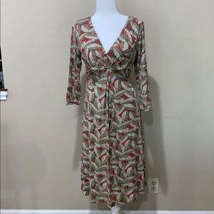 Boden Leaf Pattern Dress